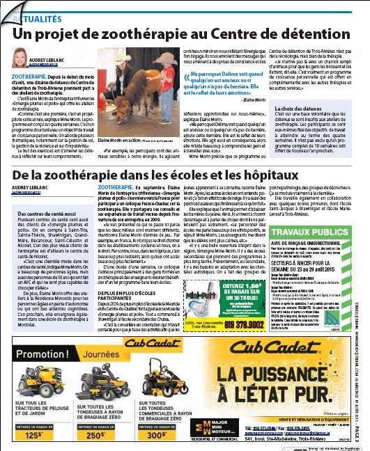 Un projet de zoothérapie au Centre de détention - L'Hebdo Journal (19 août 2015)