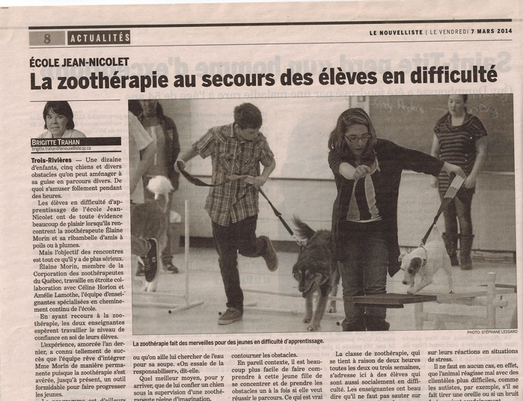 La zoothérapie au secours des élèves en difficulté - Le nouvelliste (7 mars 2014)