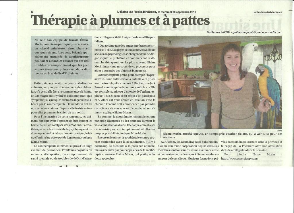 Thérapie à plumes et à pattes - L'Éco de Trois-Rivières (26 septembre 2012)