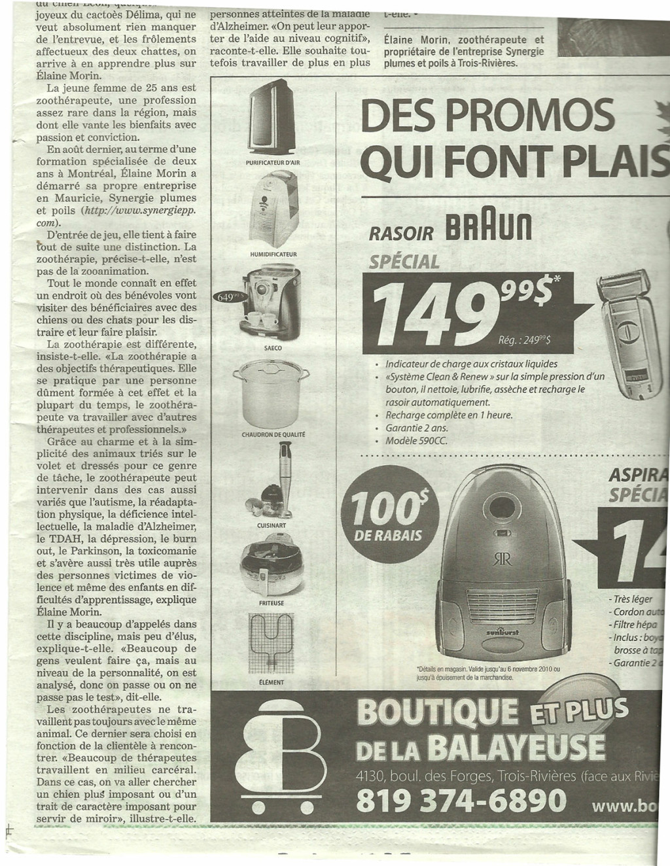 Nouveau service de zoothérapie en Mauricie - Le Nouvelliste (30-31 octobre 2010)