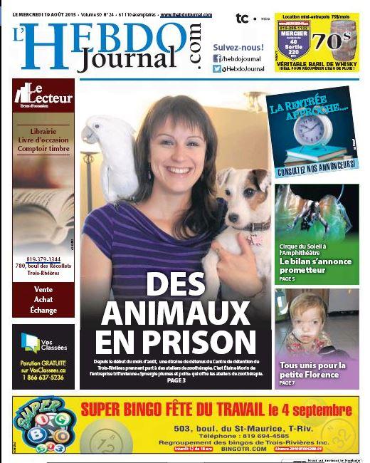 Des animaux en prison - L'Hebdo Journal (19 août 2015)